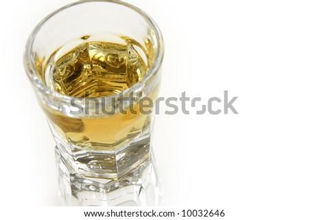 Shot of bourbon isolated on white background - stock photo