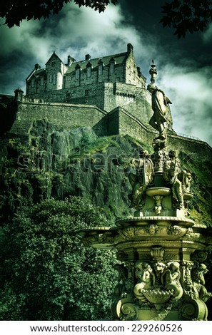 Shot of Edinburgh Castle with Vintage look - stock photo