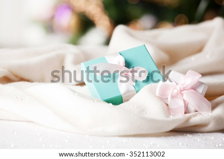 Shot of elegant gift boxes. Concept of wedding, marriage, wealth and luxurious lifestyle.  - stock photo