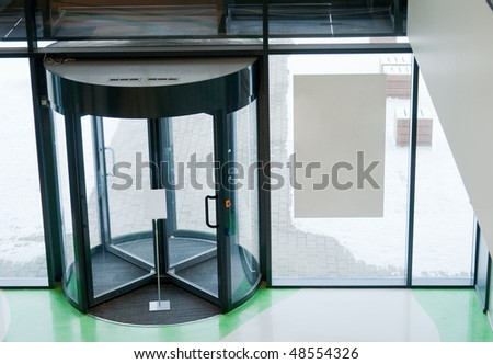 Shot of entrance glassrotate door, modern - stock photo
