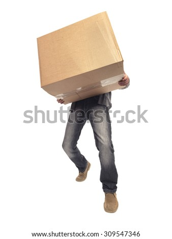 shot of man carrying large box and struggling with the weight of it while moving house  - stock photo