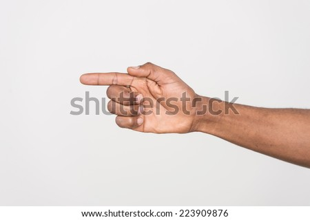 shot of man hand pointing with finger. Human hand point with finger isolated on white.  - stock photo