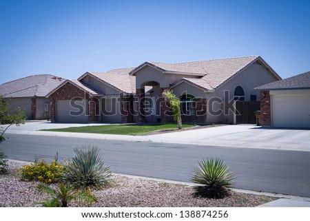 Shot of modern residential Arizona home - stock photo