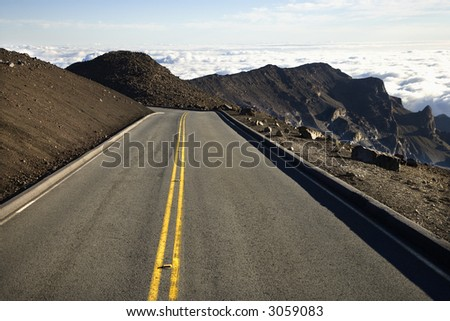 Shot of road and landscape in Haleakala National Park in Maui, Hawaii. - stock photo