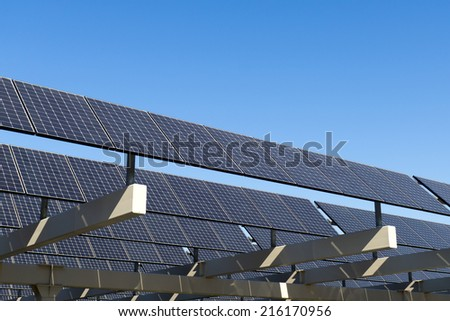 Shot of solar panel against clear blue sky