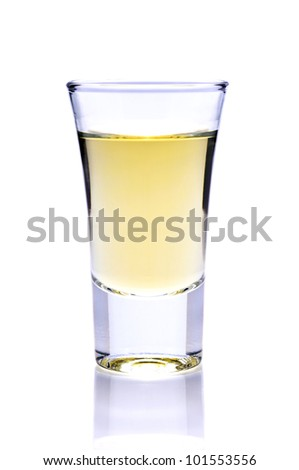 shot of tequila or whiskey isolated on a white background - stock photo