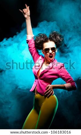 Shot of the dancing girl - stock photo