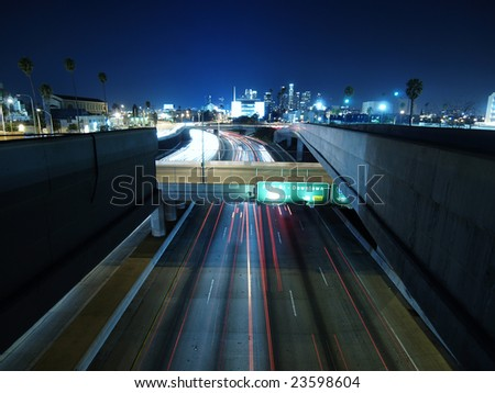 Shot of the end of the 110 freeway in Los Angeles night.
