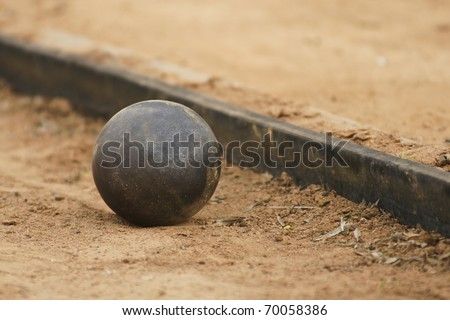 Shot put on athletic field. - stock photo