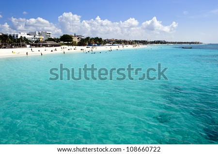 Shot taken at Playa del Carmen, beautiful caribbean beach. Great picture for holidays. - stock photo