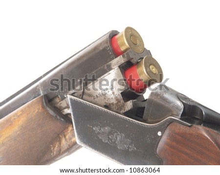 shotgun and ammunition - stock photo