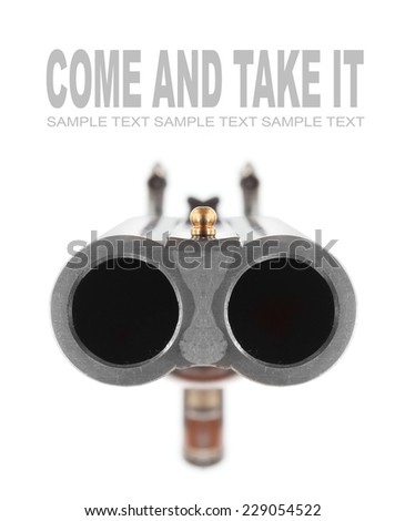 Shotgun for home defense and civil independence. Protect the Second amendment U.S. constitution concept. - stock photo