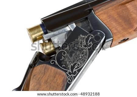 Shotgun. Isolated on white. - stock photo