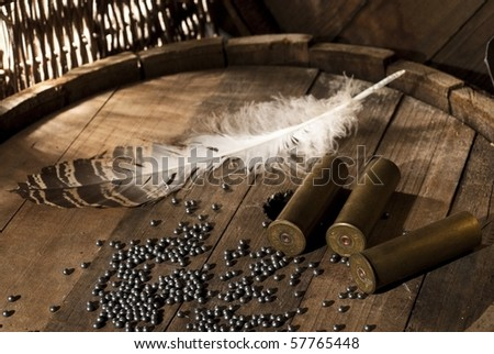 Shotgun shells and shot on wood background - stock photo
