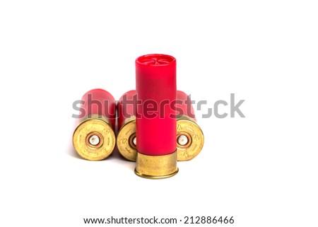 Shotgun shells isolated on white background - stock photo