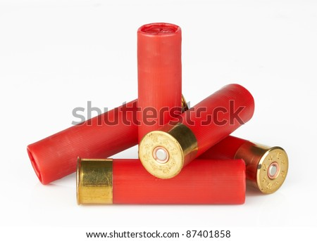 shotgun shells on white background - stock photo