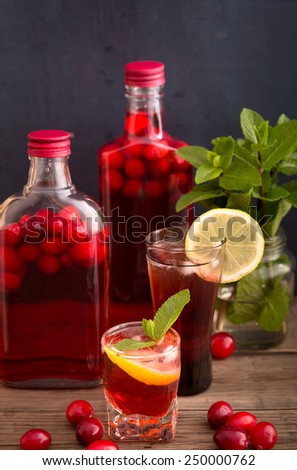 Shots and bottles of artisan cranberry alcoholic beverage - stock photo
