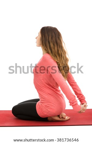 Shoulder and arm stretching - stock photo