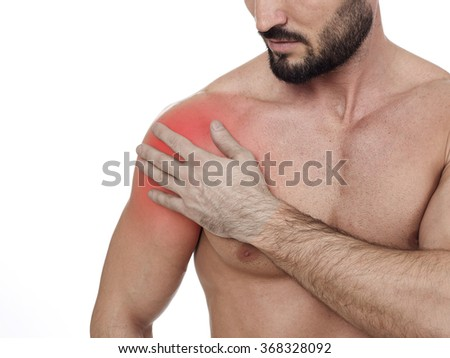 Shoulder pain - stock photo