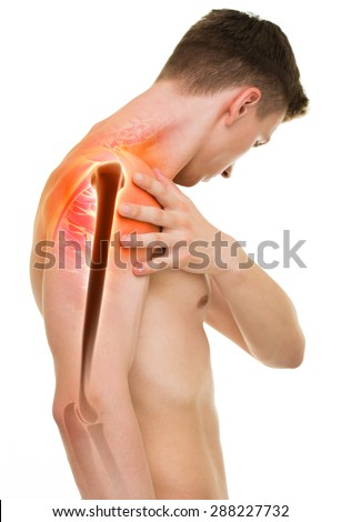 Shoulder Pain - Anatomy Male Holding Shoulder isolated on white - stock photo