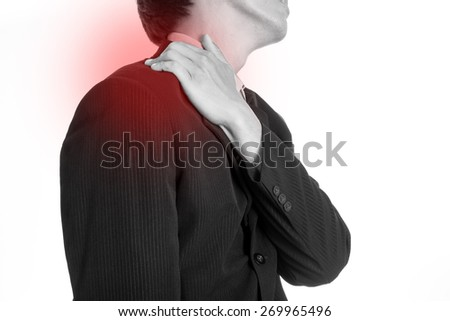 Shoulder pain ,businessman painful after finished working. - stock photo