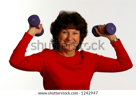 shoulder press with dumbbells - stock photo