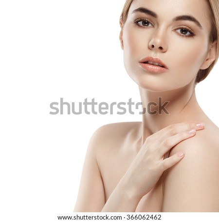 Shoulders neck chin hands Beautiful woman portrait face studio isolated on white - stock photo