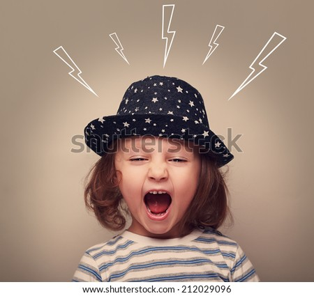 Shouting angry small kid with open mouth and lightnings above - stock photo