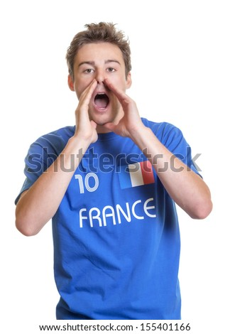 Shouting french soccer fan - stock photo