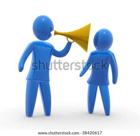 Shouting through loudspeaker - stock photo