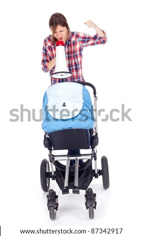 shouting young mother megaphone and baby pram - stock photo