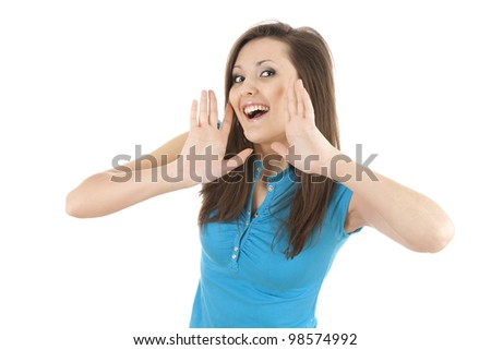 shouting young woman with hands near face, white background