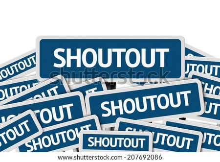 Shoutout written on multiple blue road sign - stock photo