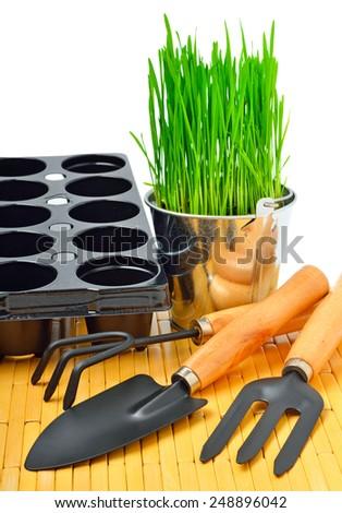 Shovel, aluminium bucket with grass, rake, flowerpots, garden tools isolated on white - stock photo