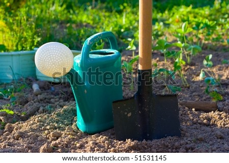 Shovel and the watering can - stock photo