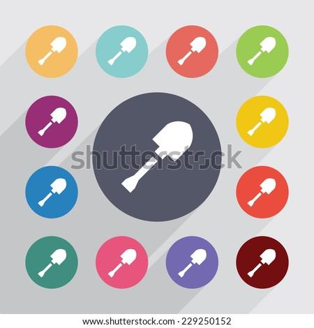 shovel circle, flat icons set. Round colourful buttons - stock photo
