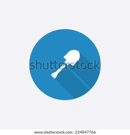 shovel Flat Blue Simple Icon with long shadow, isolated on white background   - stock photo