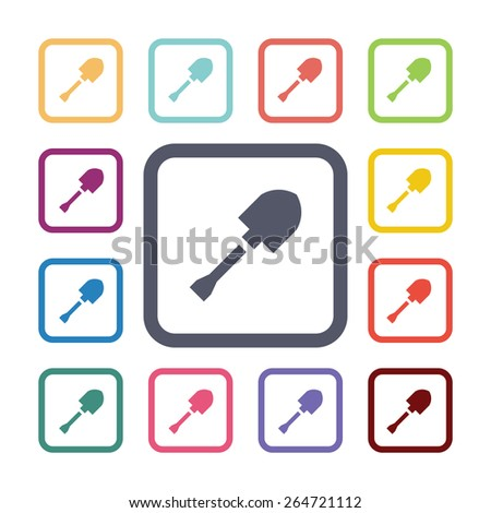 shovel flat icons set. Open round colorful buttons.  - stock photo