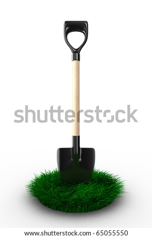Shovel on white background. garden tool. Isolated 3D image - stock photo