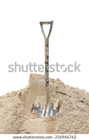 Shovel sand for construction, A shovel in a sand - stock photo
