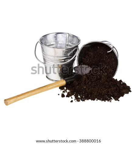 Shovel,soil,bucket isolated on white background