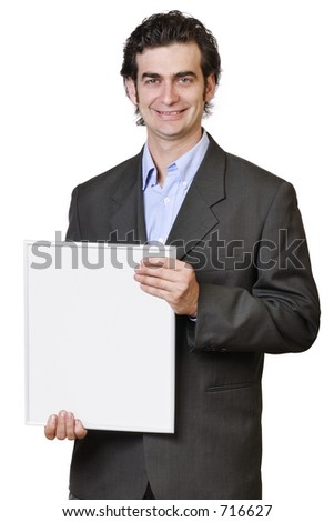 Show and tell, man with white board