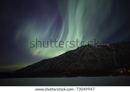Show of northern lights near Anchorage AK, USA