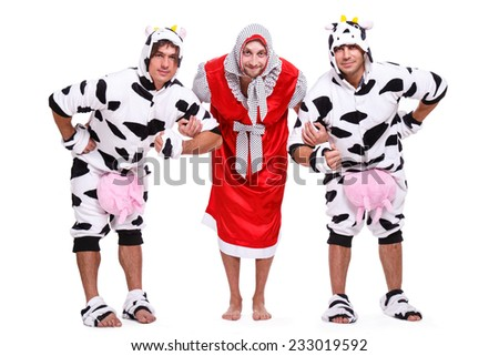 Show, striptease. Handsome guys in costume - stock photo