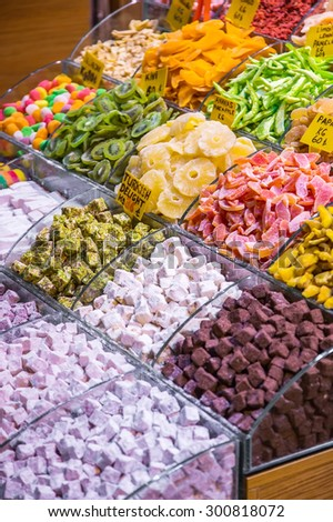 Show-window with east sweets, the Grand Bazaar, Istanbul - stock photo