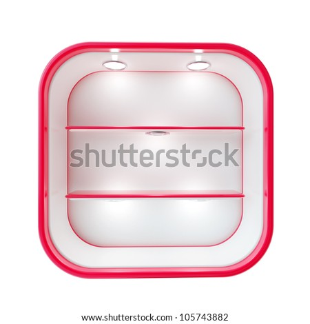Showcase copyspace shop red shelf with light illumination isolated on white - stock photo