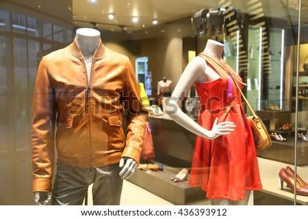 showcase model at clothing shop  - stock photo