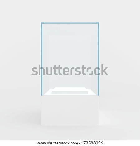 showcase performance of blue glass. isolated on gray background - stock photo