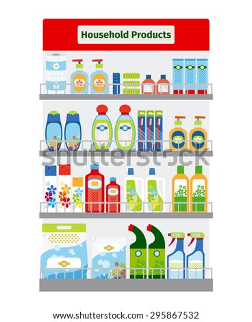 Showcase with household cleaning and hygiene items illustration