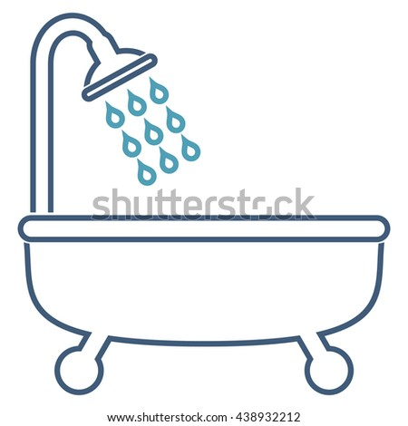 Shower Bath glyph icon. Style is contour bicolor flat icon symbol, cyan and blue colors, white background.